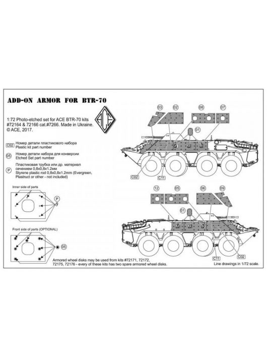 ACE - Photo-etched set for BTR-70 Add-on armor (for ACE kits #72164 & 72166)