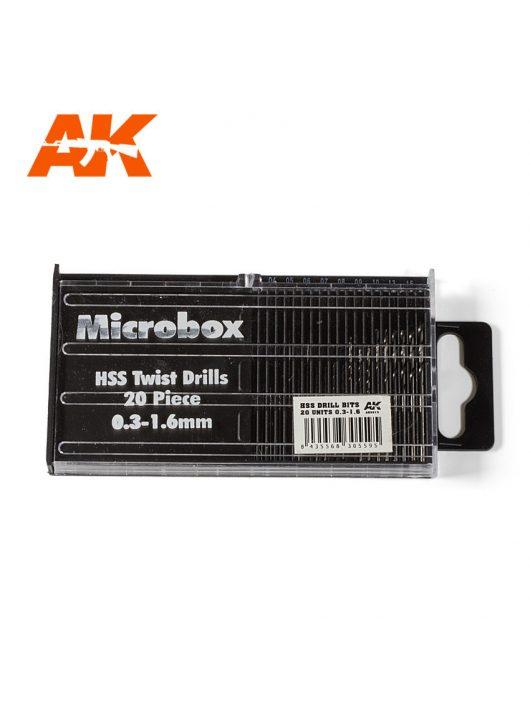 AK Interactive - Microbox HSS Drill Bits 20 units 0.3-1.6mm