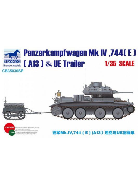 Bronco Models - Panzerkampfwagen Mk.IV,744(E)(A13)& UE Trailer