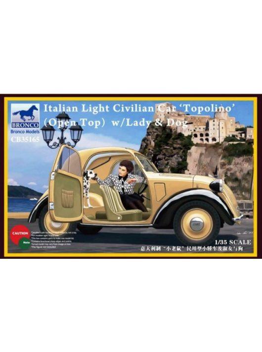 Bronco Models - Italian Light Civilian Car(Open Top) w/Lady & Dog