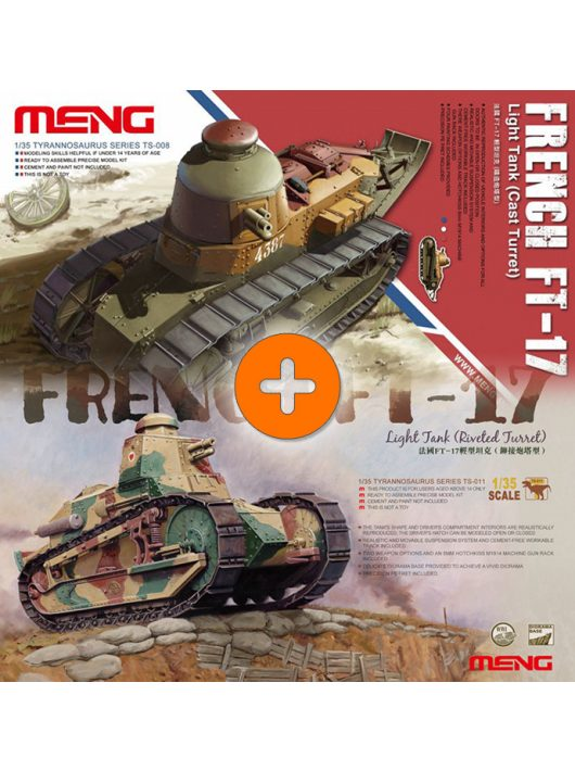 Meng Model - French Ft-17 Light Tank (Riveted Turret) + French Ft-17 Light Tank (Cast Turret)