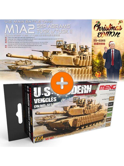 Meng Model - Main Battle Tank M1A2 SEP Abrams TUSK I/TUSK II LIMITED Christmas Edition + U.S. Modern Vehicles Colors Set