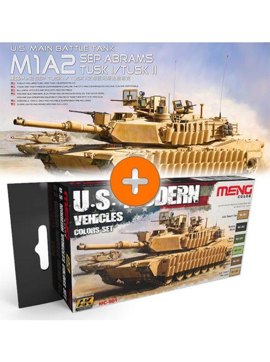 Meng Model - U.S. Main Battle Tank M1A2 Sep Abrams Tusk I/Tusk II + U.S. Modern Vehicles Colors Set