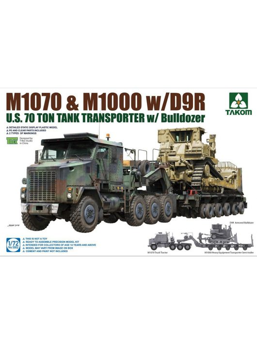Takom - US M1070 and M1000 with D9R 70 Ton Tank Transporter with Bulldozer